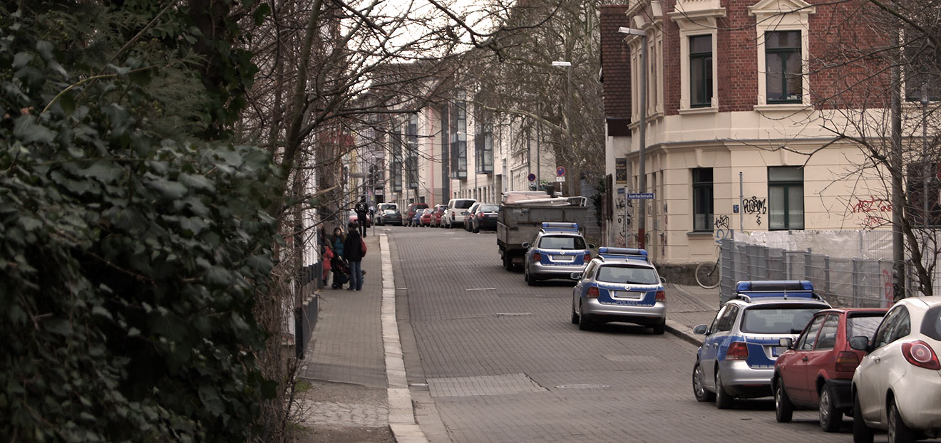 Biedermannstraße Polizeistation 2014 (Connewitz)